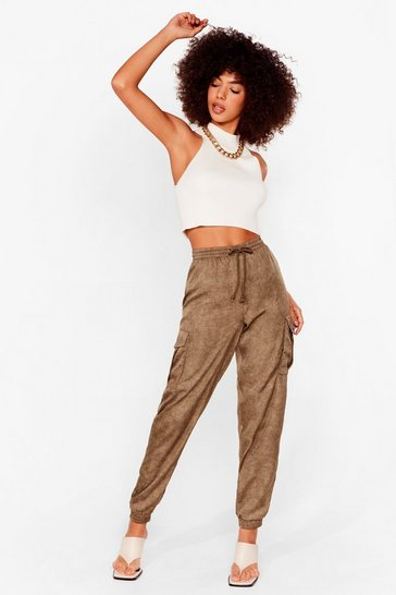 Khaki Cargo There High-Waisted Textured Trousers