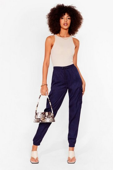Navy Cargo There High-Waisted Textured Pants