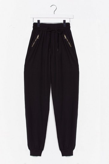 Black What's Zip Gonna Be High-Waisted Joggers