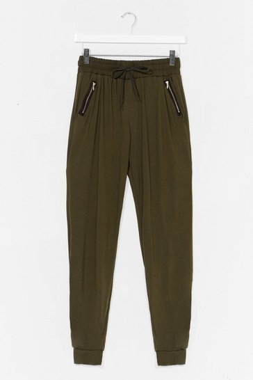 Khaki What's Zip Gonna Be High-Waisted Joggers