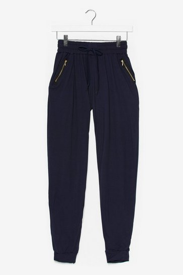 Navy What's Zip Gonna Be High-Waisted Joggers