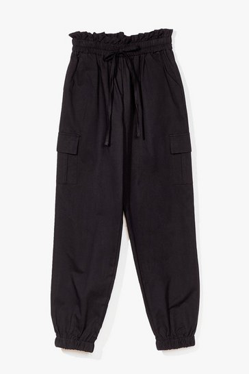 Black Elasticated waist combat pants