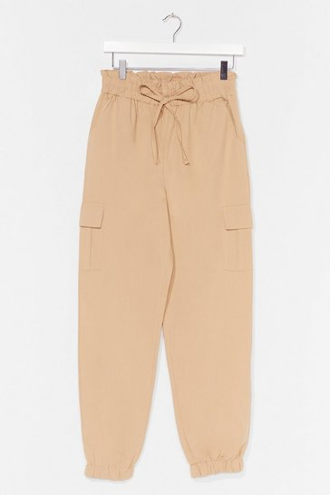 Stone Elasticated waist combat pants