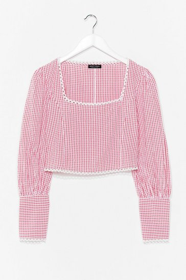 Red Square's Square Gingham Cropped Blouse