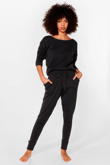 Black Weekend Loading Knit Sweater and Joggers Lounge Set