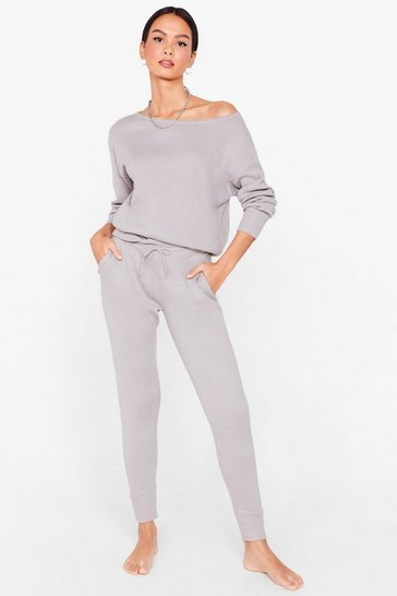 Grey marl Weekend Loading Knit Sweater and Joggers