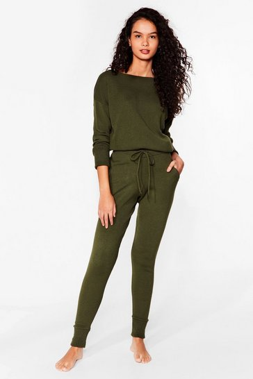Khaki Weekend Loading Knit Sweater and Joggers Lounge Set