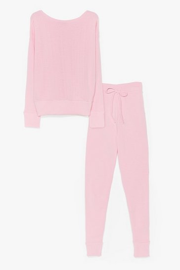 Pink Weekend Loading Knit Sweater and Joggers Lounge Set