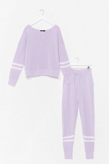 Pink Knitted Stripe Jumper and Sweatpants Set