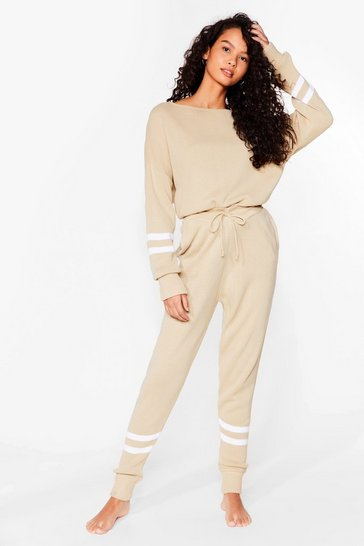 Oatmeal Our Stripe of Day Knitted Sweater and Joggers Set