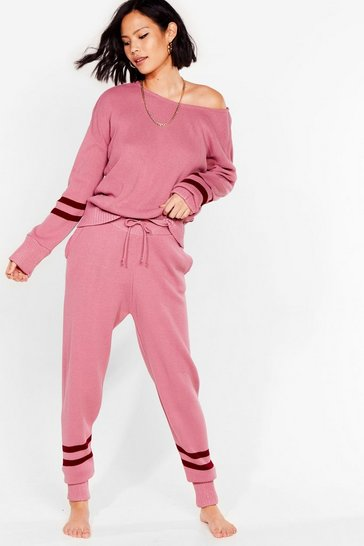 Pink Our Stripe of Day Knitted Sweater and Jogger Set