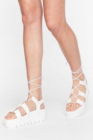 White Rise to the Occasion Platform Lace-Up Sandals