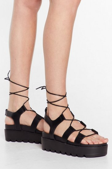 Black Rise to the Occasion Platform Lace-Up Sandals