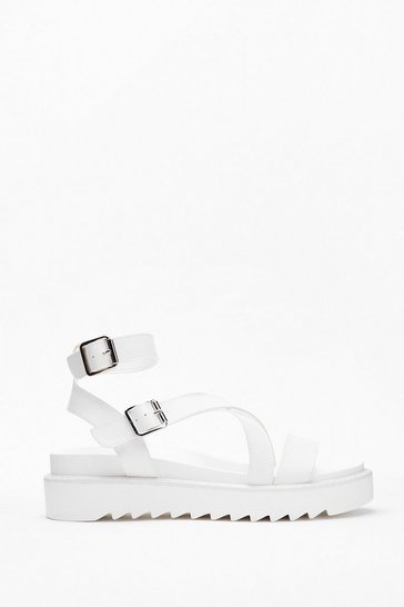 White Razor Sole Cross Strap Sandals