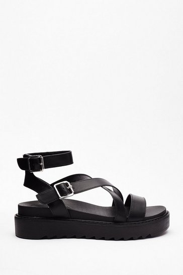 Black Razor Sole Cross Strap Sandals