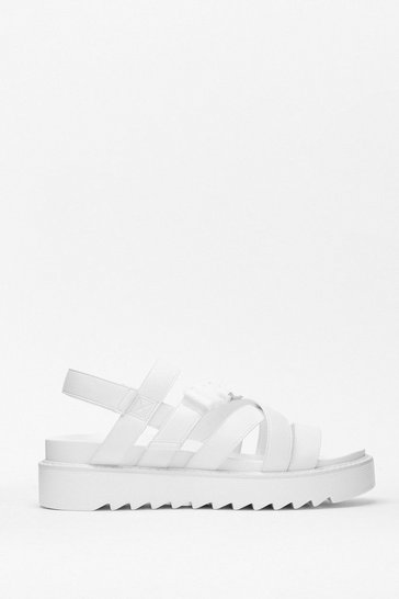 White Razor Sole Multi Strap Chunky Sandal