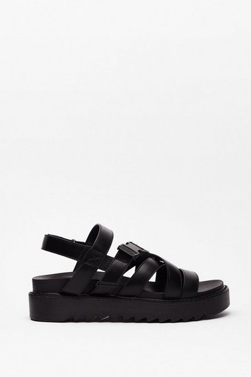 Black Faux Leather Strappy Buckle Sandals