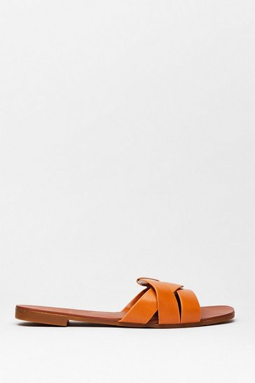 Camel Don't Let It Slip Faux Leather Flat Sandals
