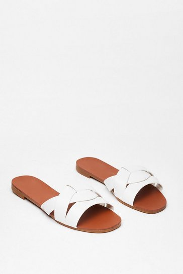 White Don't Let It Slip Faux Leather Flat Sandals