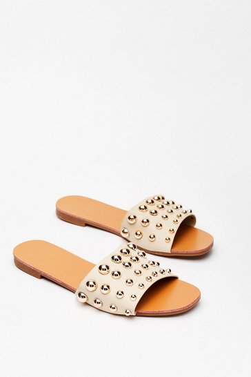 Beige Stud Going Faux Leather Flat Sandals