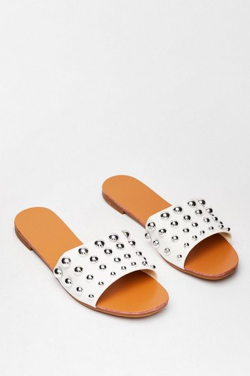 White Stud Going Faux Leather Flat Sandals