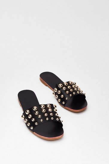 Black Descending Stud Flat Mules