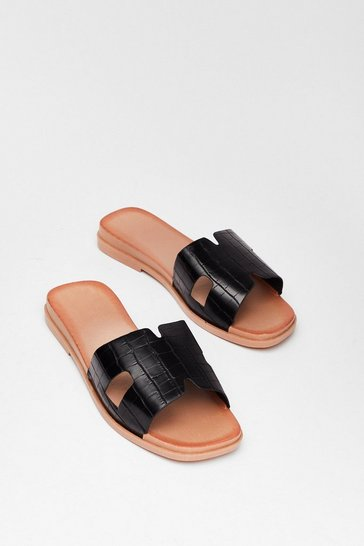 Black Faux Croc Cut Out Flat Mules
