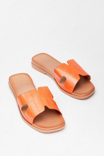 Orange Step Out Croc Flat Sandals