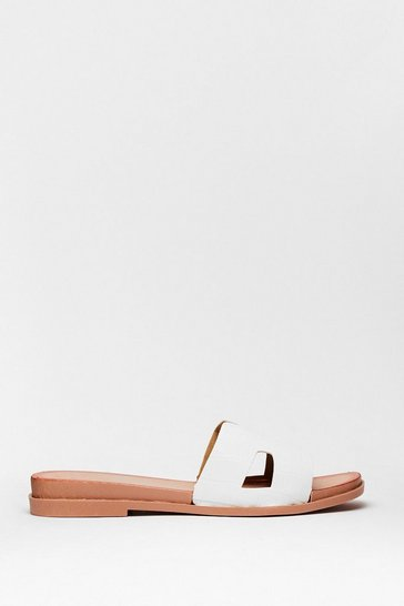 White Step Out Croc Flat Sandals