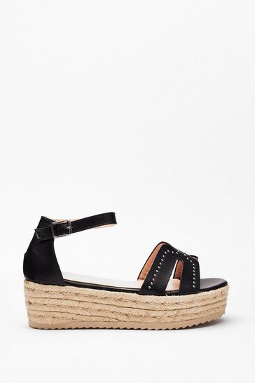 Black Stud Raffia Flatform Wedges