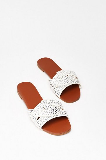White Lookin' Stud Baby Faux Leather Flat Sandals