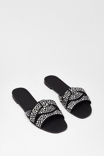 Black Lookin' Stud Baby Faux Leather Flat Sandals