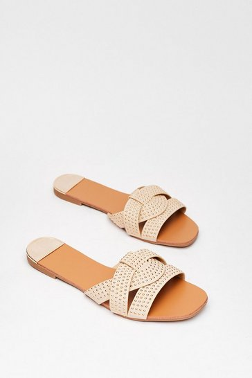Beige Stud Never Look Back Faux Leather Flat Sandals