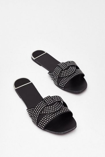 Black Stud Never Look Back Faux Leather Flat Sandals