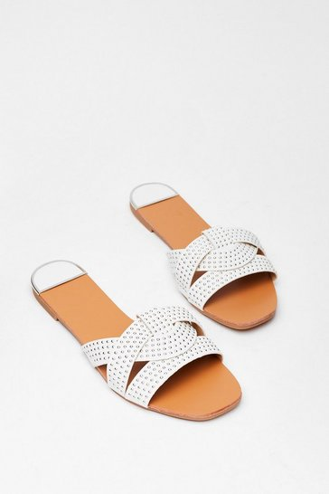 White Stud Never Look Back Faux Leather Flat Sandals