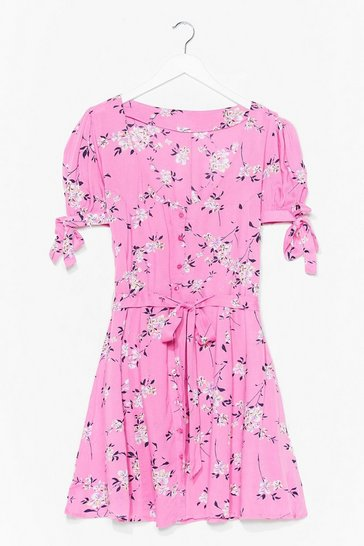 Pink Shirred Bust Ditsy Floral Skater Dress