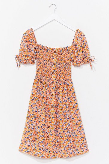 Orange Bust Some Moves Floral Midi Dress