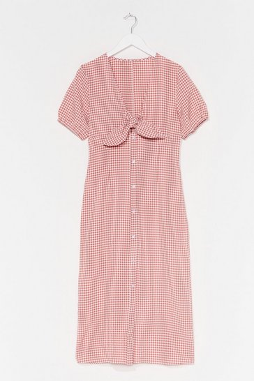 Salmon Gingham Tie Front Puff Sleeve Dress