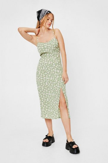 Green Flower You Doing Slit Midi Dress