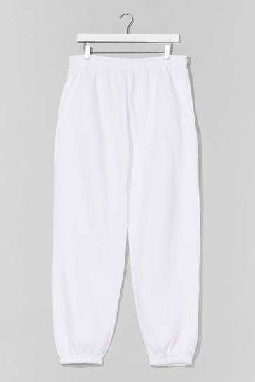 White Jog the Limelight Stretch Joggers