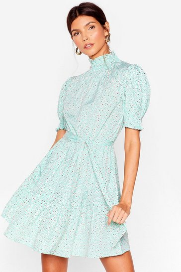 Sage Stalk 'Em into It Belted Mini Dress