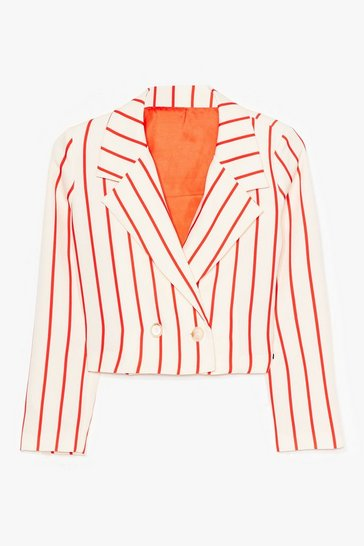 Cream Personality Stripe Cropped Double Breasted Blazer