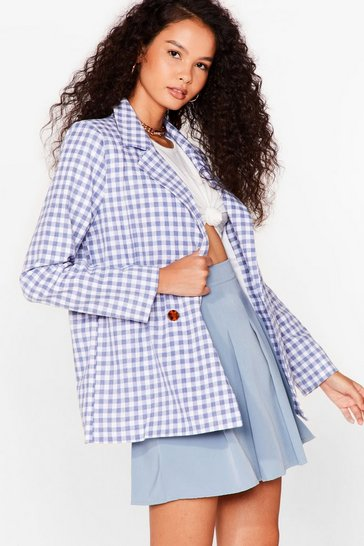 Blue Check 'Em Out Gingham Blazer