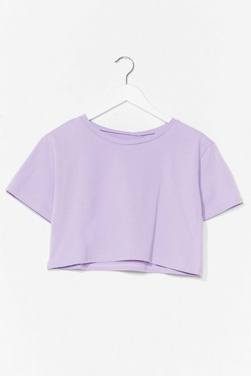 Lilac Baggy Cropped Short Sleeve T-Shirt