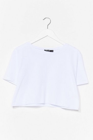 White Cotton Cropped Tee