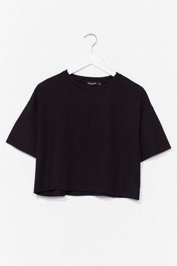 Black Just You and Tee Ribbed Cropped Tee
