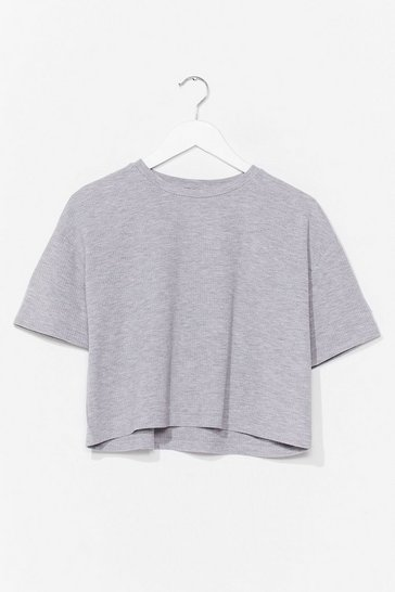 Grey Just You and Tee Ribbed Cropped Tee