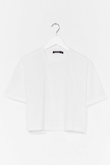 White Just You and Tee Ribbed Cropped Tee