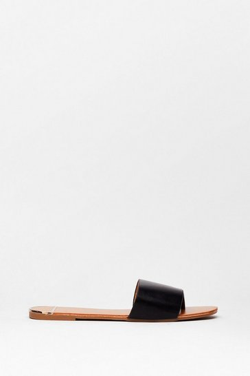 Black Toe Matter What Faux Leather Flat Sandals
