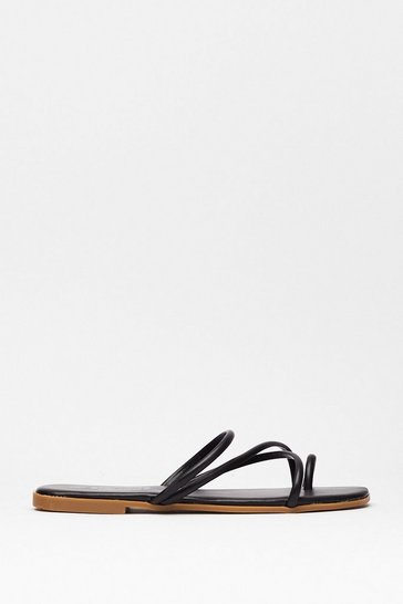 Black Strappy Go Lucky Flat Sandals